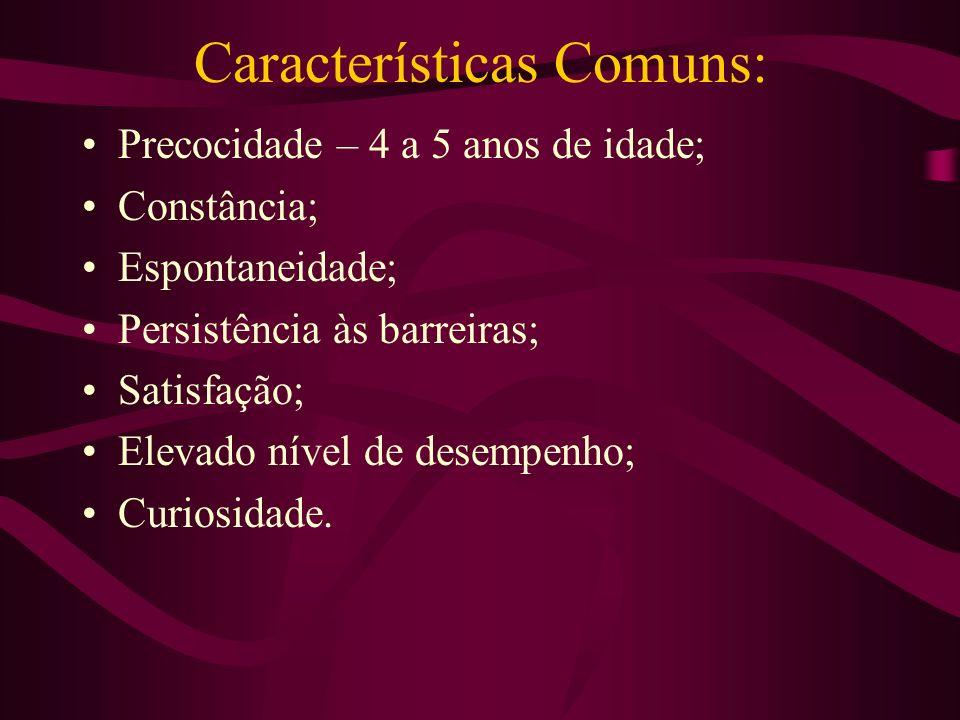 Características Comuns: Precocidade – 4 a 5 anos de idade; Constância; Espontaneidade; Persistência às barreiras; Satisfação; Elevado nível de desempe
