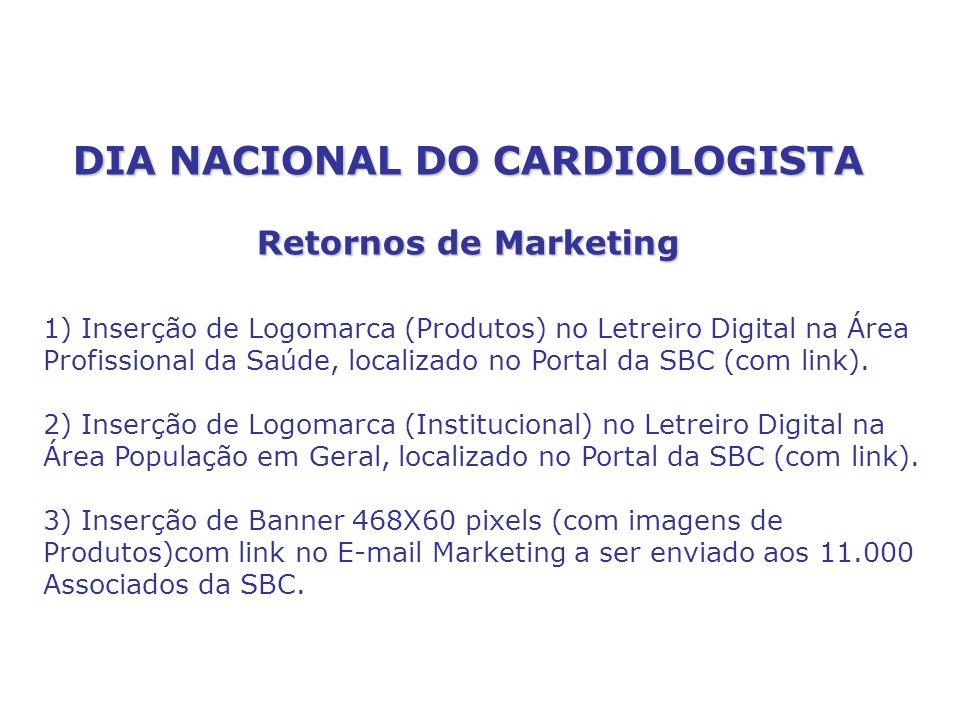 DIA NACIONAL DO CARDIOLOGISTA Retornos de Marketing 1) Inserção de Logomarca (Produtos) no Letreiro Digital na Área Profissional da Saúde, localizado