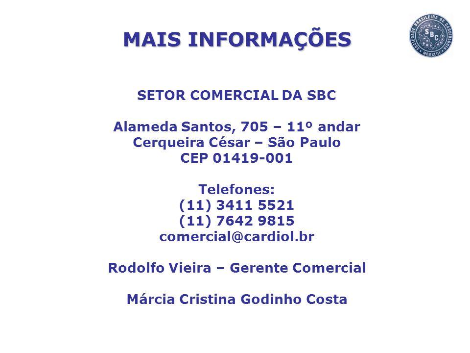 SETOR COMERCIAL DA SBC Alameda Santos, 705 – 11º andar Cerqueira César – São Paulo CEP 01419-001 Telefones: (11) 3411 5521 (11) 7642 9815 comercial@ca