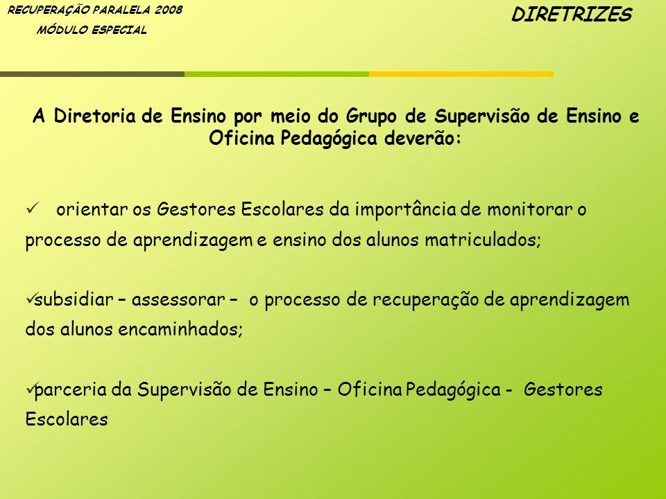 RECUPERAÇÃO PARALELA 2008 MÓDULO ESPECIAL A Diretoria de Ensino por meio do Grupo de Supervisão de Ensino e Oficina Pedagógica deverão: orientar os Ge