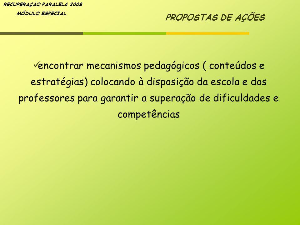 RECUPERAÇÃO PARALELA 2008 MÓDULO ESPECIAL PROPOSTAS DE AÇÕES encontrar mecanismos pedagógicos ( conteúdos e estratégias) colocando à disposição da esc