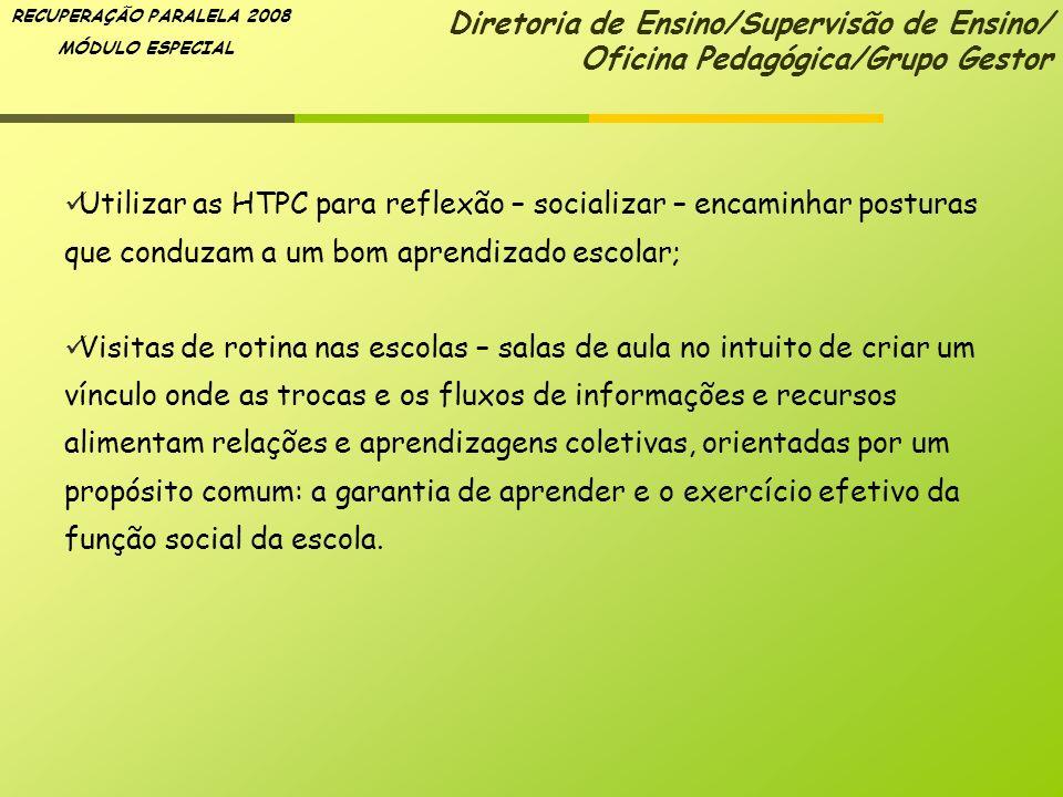 RECUPERAÇÃO PARALELA 2008 MÓDULO ESPECIAL Utilizar as HTPC para reflexão – socializar – encaminhar posturas que conduzam a um bom aprendizado escolar;