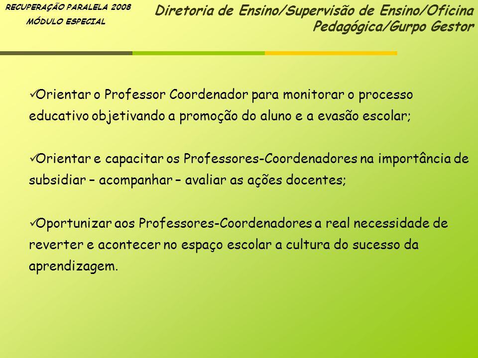 RECUPERAÇÃO PARALELA 2008 MÓDULO ESPECIAL Orientar o Professor Coordenador para monitorar o processo educativo objetivando a promoção do aluno e a eva