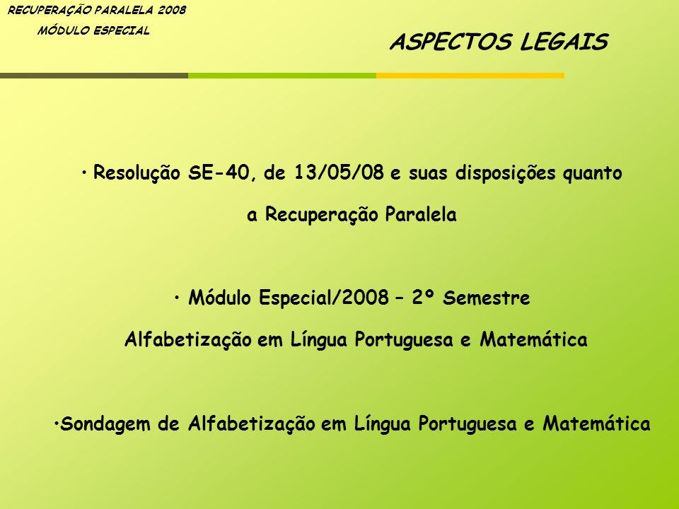 RECUPERAÇÃO PARALELA 2008 MÓDULO ESPECIAL ASPECTOS LEGAIS Resolução SE-40, de 13/05/08 e suas disposições quanto a Recuperação Paralela Módulo Especia