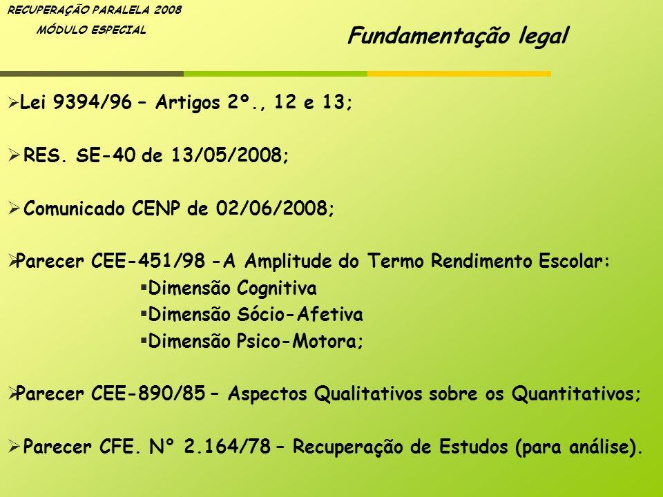 RECUPERAÇÃO PARALELA 2008 MÓDULO ESPECIAL Lei 9394/96 – Artigos 2º., 12 e 13; RES. SE-40 de 13/05/2008; Comunicado CENP de 02/06/2008; Parecer CEE-451
