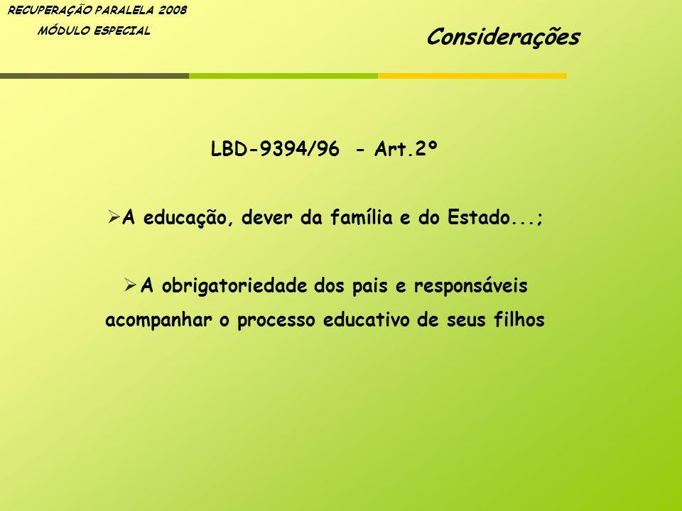 RECUPERAÇÃO PARALELA 2008 MÓDULO ESPECIAL LBD-9394/96 - Art.2º A educação, dever da família e do Estado...; A obrigatoriedade dos pais e responsáveis