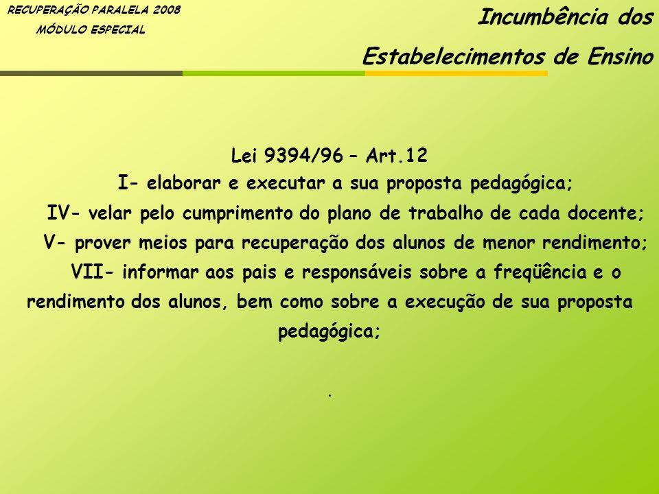 RECUPERAÇÃO PARALELA 2008 MÓDULO ESPECIAL Lei 9394/96 – Art.12 I- elaborar e executar a sua proposta pedagógica; IV- velar pelo cumprimento do plano d