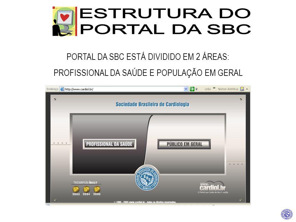 PORTAL DA SBC ESTÁ DIVIDIDO EM 2 ÁREAS: PROFISSIONAL DA SAÚDE E POPULAÇÃO EM GERAL