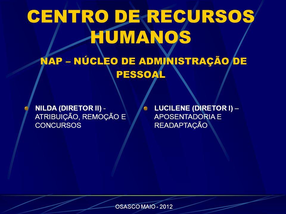 OSASCO MAIO - 2012 CHRISTINA – LIQUIDAÇÃO, ATO DECISÓRIO E GRATIFICAÇÃO DE REPRESENTAÇÃO ROSELI – ATRIBUIÇÃO, APOSENTADORIA E AÇÕES JUDICIAIS NAZARÉ - AFASTAMENTO ART 202, DESIGNAÇÃO VICE DIRETOR, LICENÇA PRÊMIO EM PECÚNIA GILDA - LICENÇA PRÊMIO E DESIGNAÇÕES (PCP E DIRETOR)