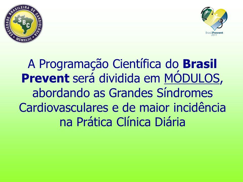 A Programação Científica do Brasil Prevent será dividida em MÓDULOS, abordando as Grandes Síndromes Cardiovasculares e de maior incidência na Prática Clínica Diária