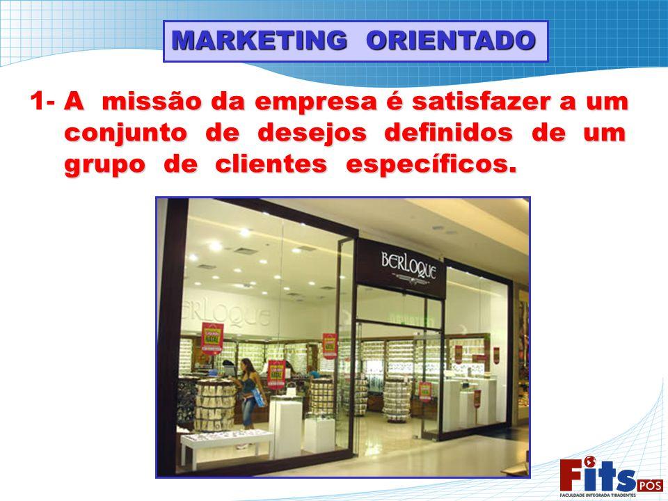 MARKETING ORIENTADO A missão da empresa é satisfazer a um 1- A missão da empresa é satisfazer a um conjunto de desejos definidos de um conjunto de des
