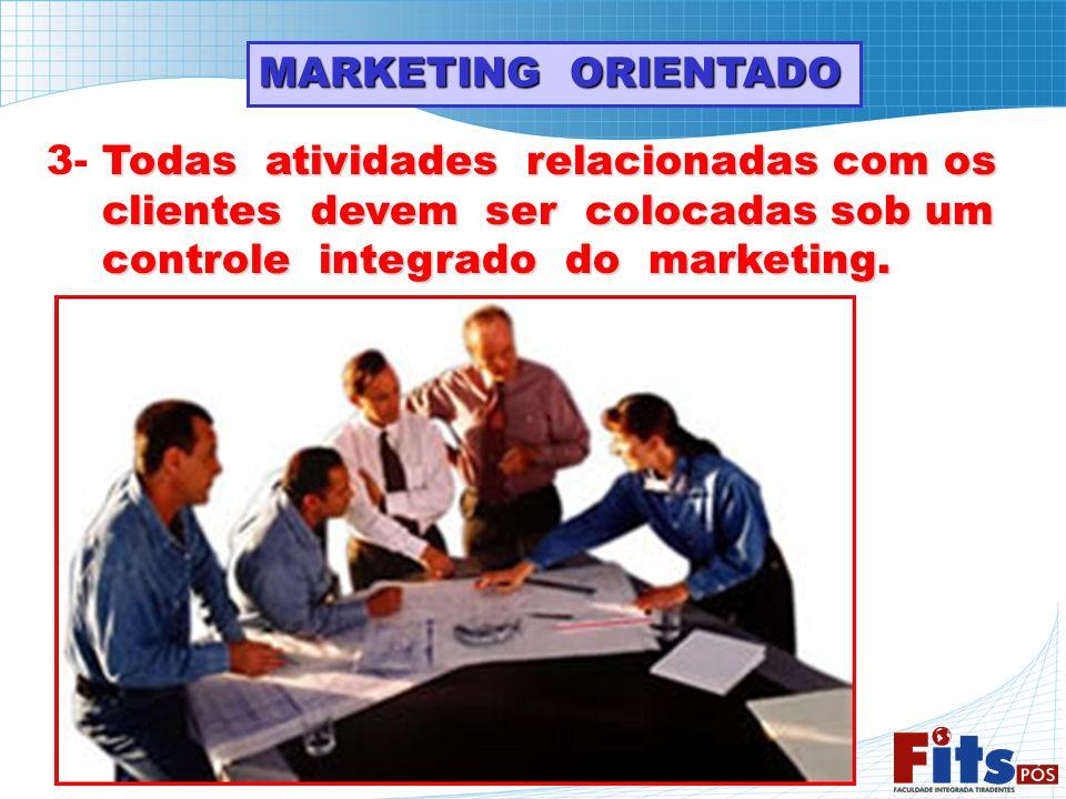 MARKETING ORIENTADO Todas atividades relacionadas com os 3- Todas atividades relacionadas com os clientes devem ser colocadas sob um clientes devem se