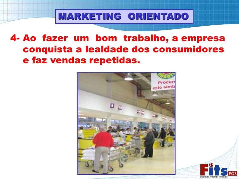 MARKETING ORIENTADO 4- Ao fazer um bom trabalho, a empresa conquista a lealdade dos consumidores e faz vendas repetidas.