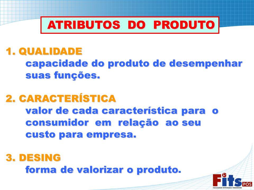 ATRIBUTOS DO PRODUTO ATRIBUTOS DO PRODUTO 1. QUALIDADE capacidade do produto de desempenhar suas funções. suas funções. 2. CARACTERÍSTICA valor de cad