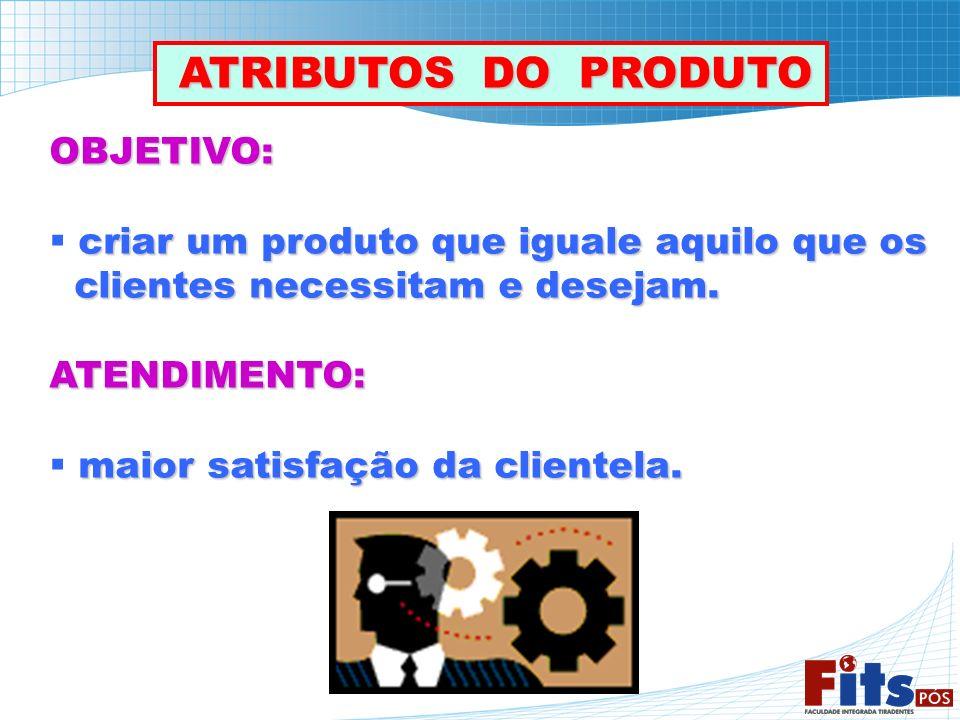 OBJETIVO: criar um produto que iguale aquilo que os clientes necessitam e desejam. clientes necessitam e desejam.ATENDIMENTO: maior satisfação da clie