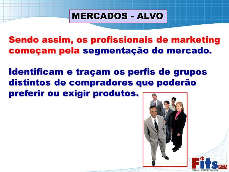 MERCADOS - ALVO Sendo assim, os profissionais de marketing começam pela segmentação do mercado. Identificam e traçam os perfis de grupos distintos de