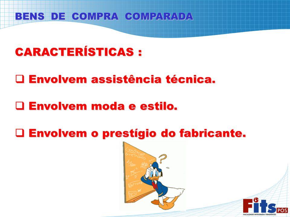 BENS DE COMPRA COMPARADA CARACTERÍSTICAS : Envolvem assistência técnica. Envolvem assistência técnica. Envolvem moda e estilo. Envolvem moda e estilo.
