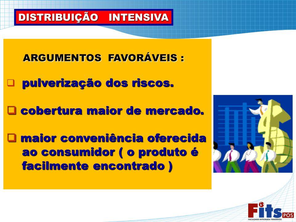 ARGUMENTOS FAVORÁVEIS : ARGUMENTOS FAVORÁVEIS : pulverização dos riscos. cobertura maior de mercado. cobertura maior de mercado. maior conveniência of