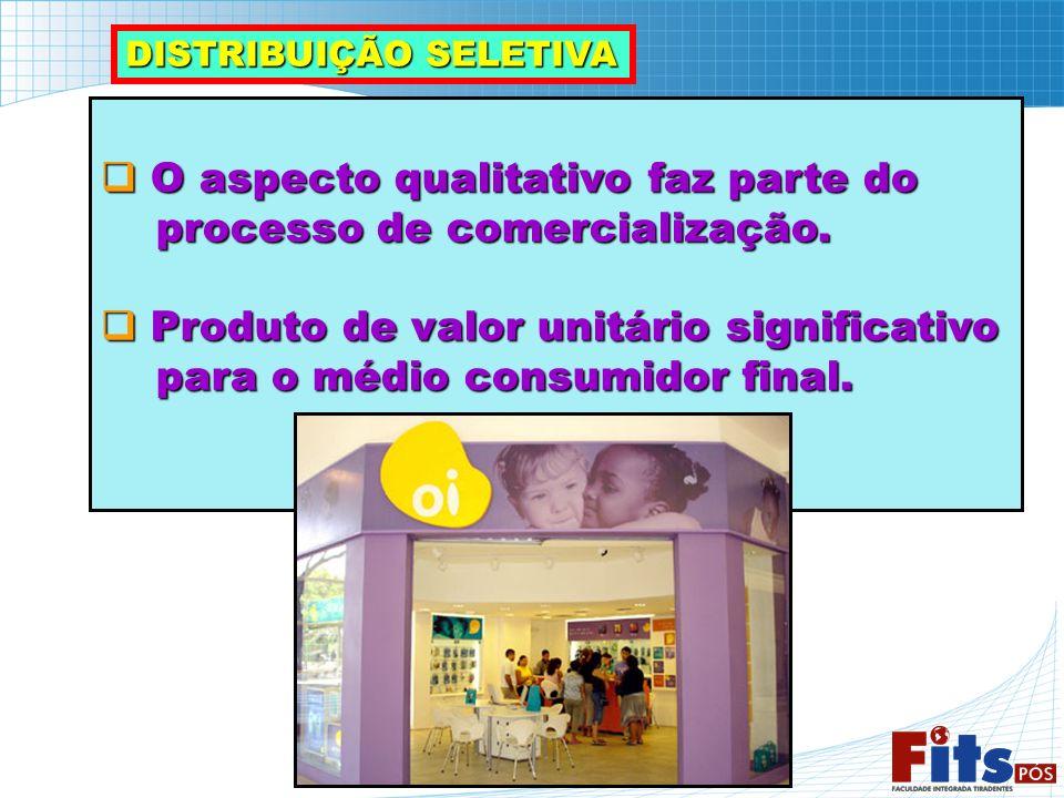 DISTRIBUIÇÃO SELETIVA O aspecto qualitativo faz parte do O aspecto qualitativo faz parte do processo de comercialização. processo de comercialização.