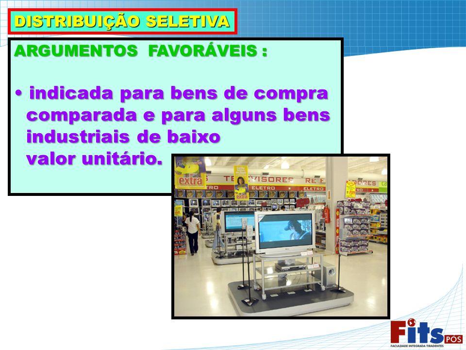 ARGUMENTOS FAVORÁVEIS : indicada para bens de compra indicada para bens de compra comparada e para alguns bens comparada e para alguns bens industriai