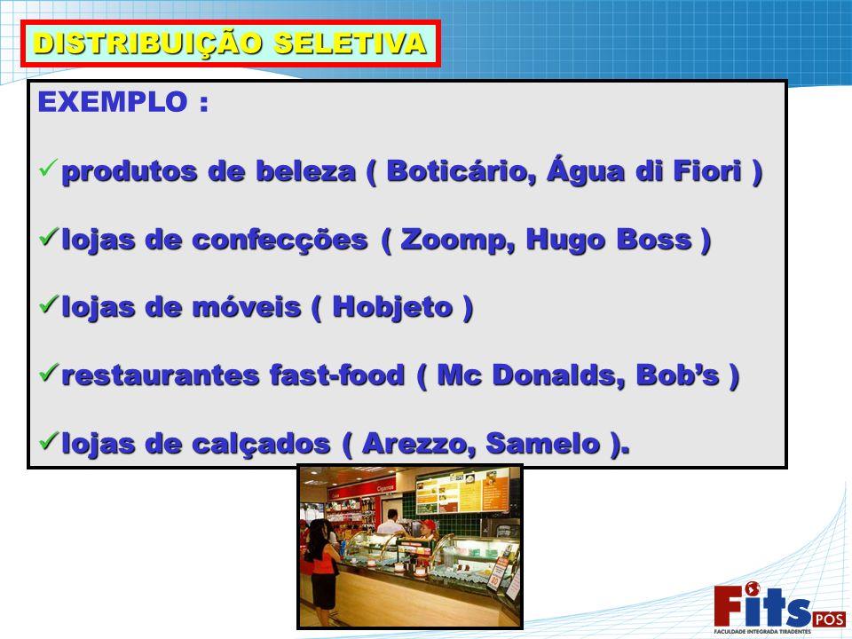 EXEMPLO : produtos de beleza ( Boticário, Água di Fiori ) lojas de confecções ( Zoomp, Hugo Boss ) lojas de confecções ( Zoomp, Hugo Boss ) lojas de m
