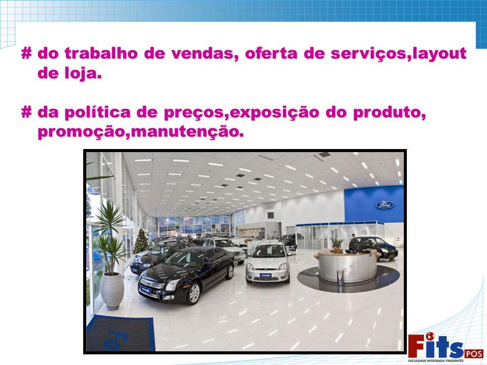 # do trabalho de vendas, oferta de serviços,layout de loja. de loja. # da política de preços,exposição do produto, promoção,manutenção. promoção,manut