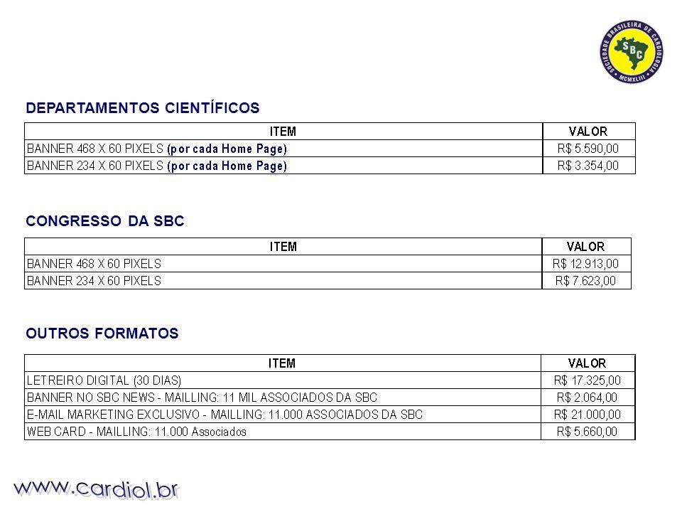 CONGRESSO DA SBC OUTROS FORMATOS DEPARTAMENTOS CIENTÍFICOS