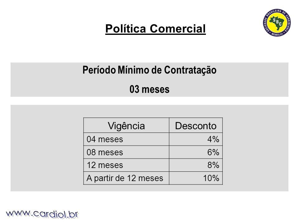 Período Mínimo de Contratação 03 meses Política Comercial VigênciaDesconto 04 meses4% 08 meses6% 12 meses8% A partir de 12 meses10%