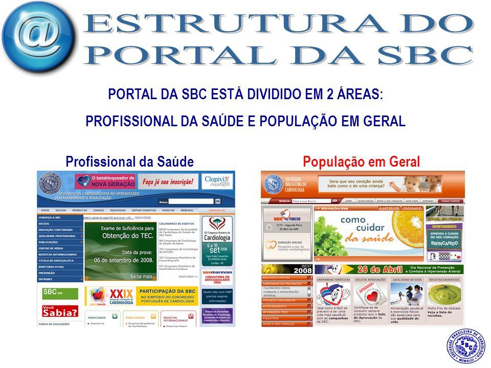 PORTAL DA SBC ESTÁ DIVIDIDO EM 2 ÁREAS: PROFISSIONAL DA SAÚDE E POPULAÇÃO EM GERAL Profissional da SaúdePopulação em Geral