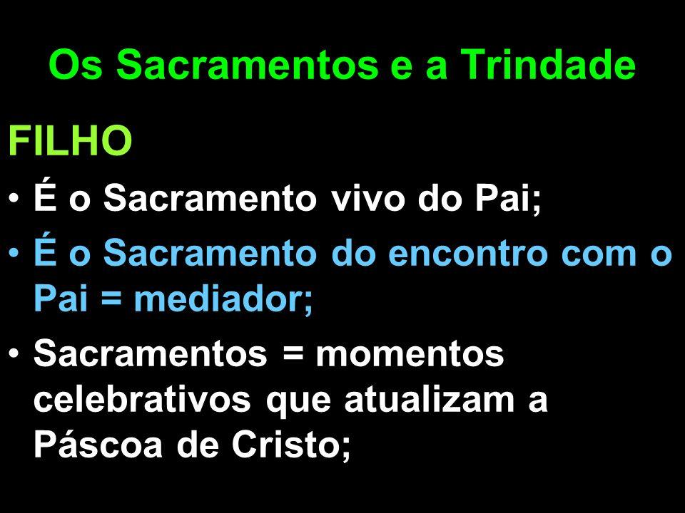 Os Sacramentos e a Trindade FILHO É o Sacramento vivo do Pai; É o Sacramento do encontro com o Pai = mediador; Sacramentos = momentos celebrativos que