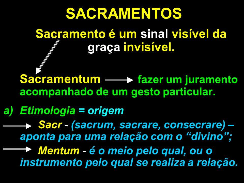SACRAMENTOS Sacramento é um sinal visível da graça invisível. Sacramentum fazer um juramento acompanhado de um gesto particular. a)Etimologia = origem