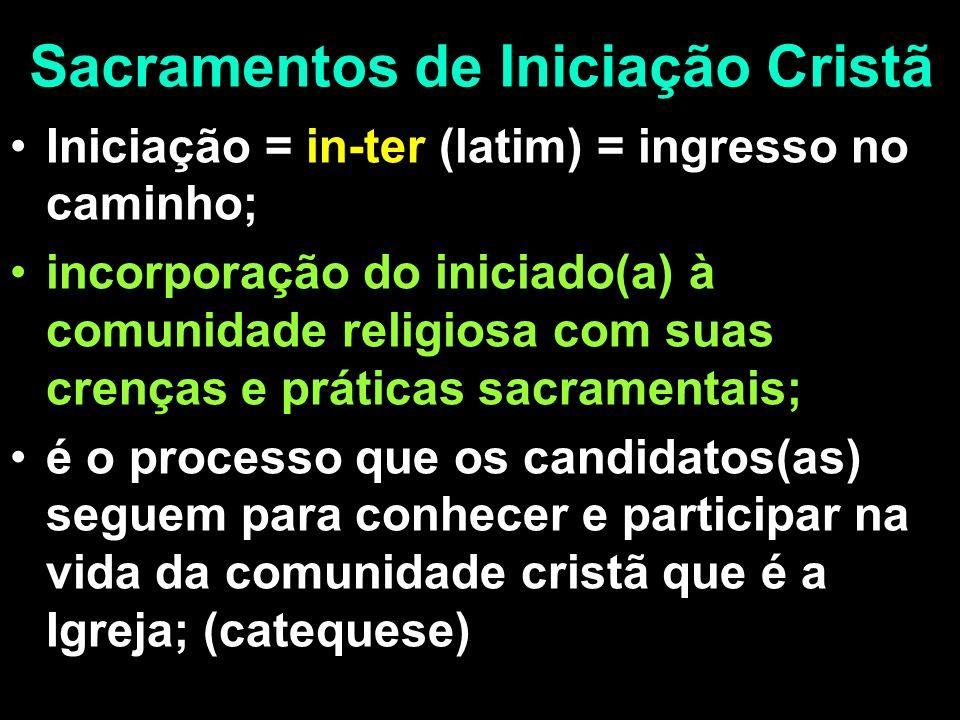Sacramentos de Iniciação Cristã Iniciação = in-ter (latim) = ingresso no caminho; incorporação do iniciado(a) à comunidade religiosa com suas crenças