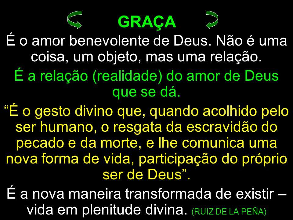 É o amor benevolente de Deus. Não é uma coisa, um objeto, mas uma relação. É a relação (realidade) do amor de Deus que se dá. É o gesto divino que, qu