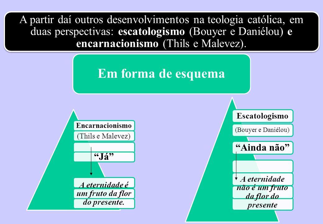 A partir daí outros desenvolvimentos na teologia católica, em duas perspectivas: escatologismo (Bouyer e Daniélou) e encarnacionismo (Thils e Malevez)