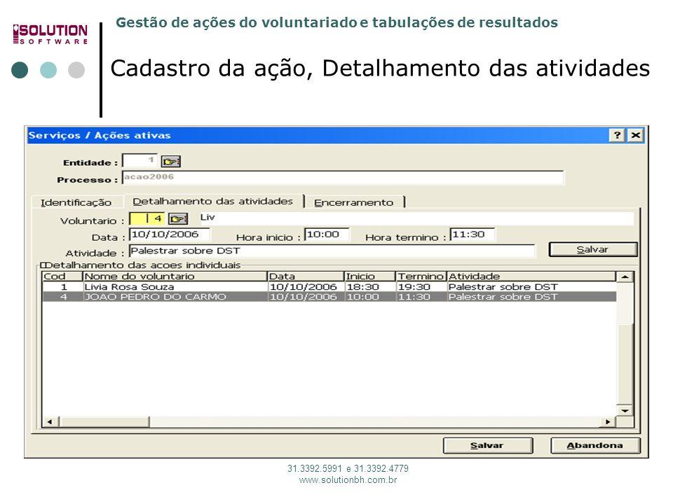 Gestão de ações do voluntariado e tabulações de resultados 31.3392.5991 e 31.3392.4779 www.solutionbh.com.br Cadastro da ação, Detalhamento das ativid