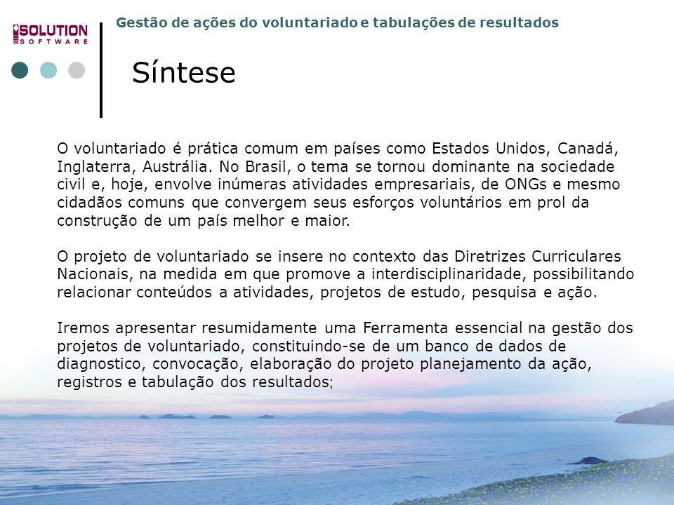 Gestão de ações do voluntariado e tabulações de resultados 31.3392.5991 e 31.3392.4779 www.solutionbh.com.br O voluntariado é prática comum em países