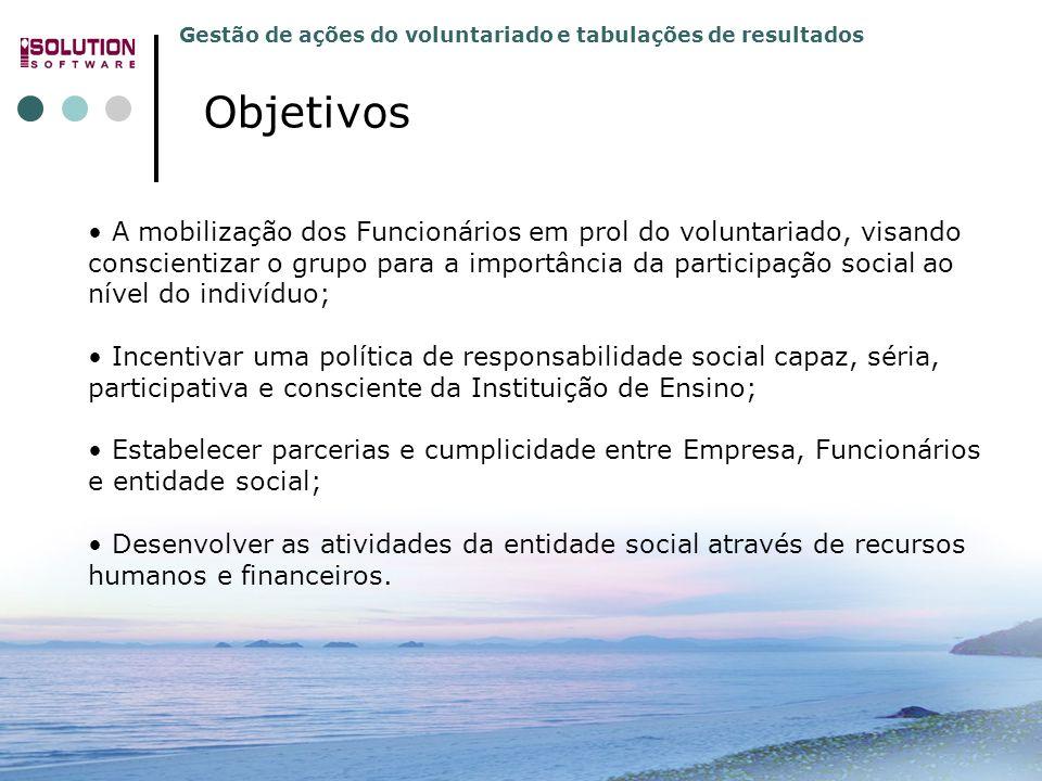 Gestão de ações do voluntariado e tabulações de resultados 31.3392.5991 e 31.3392.4779 www.solutionbh.com.br A mobilização dos Funcionários em prol do