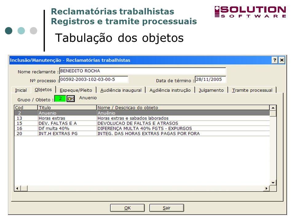 Reclamatórias trabalhistas Registros e tramite processuais www.solutionbh.com.br Tabulação dos objetos