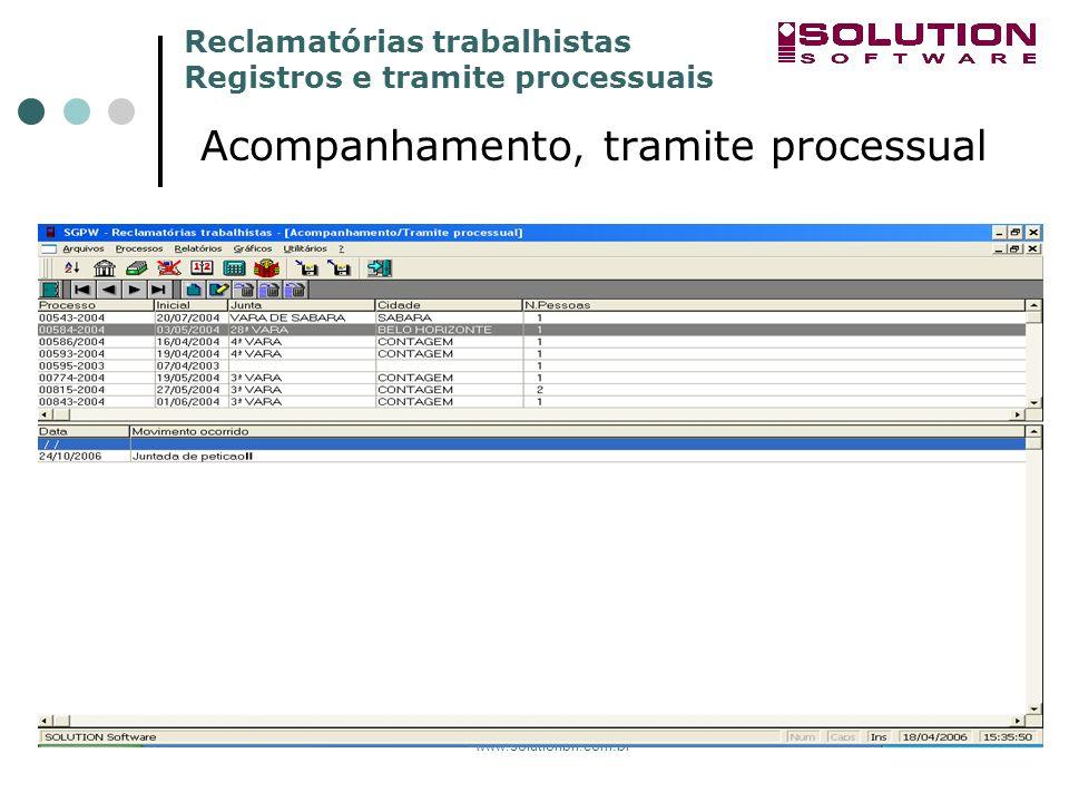 Reclamatórias trabalhistas Registros e tramite processuais www.solutionbh.com.br Acompanhamento, tramite processual