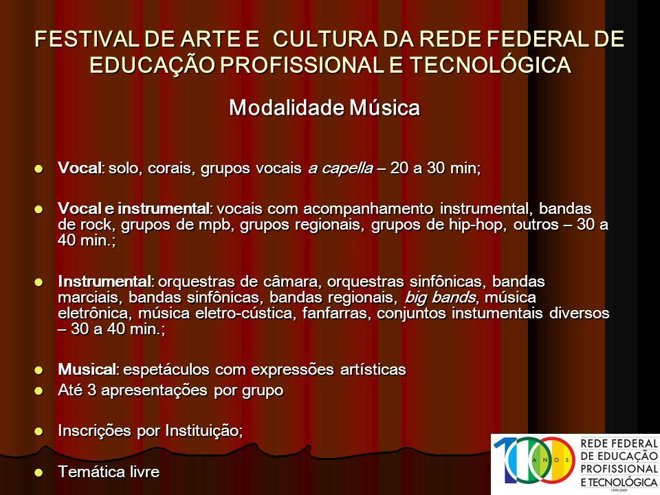 Modalidade Música Vocal: solo, corais, grupos vocais a capella – 20 a 30 min; Vocal: solo, corais, grupos vocais a capella – 20 a 30 min; Vocal e inst