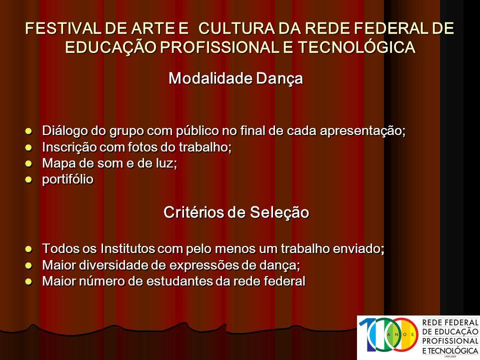 Modalidade Dança Diálogo do grupo com público no final de cada apresentação; Diálogo do grupo com público no final de cada apresentação; Inscrição com