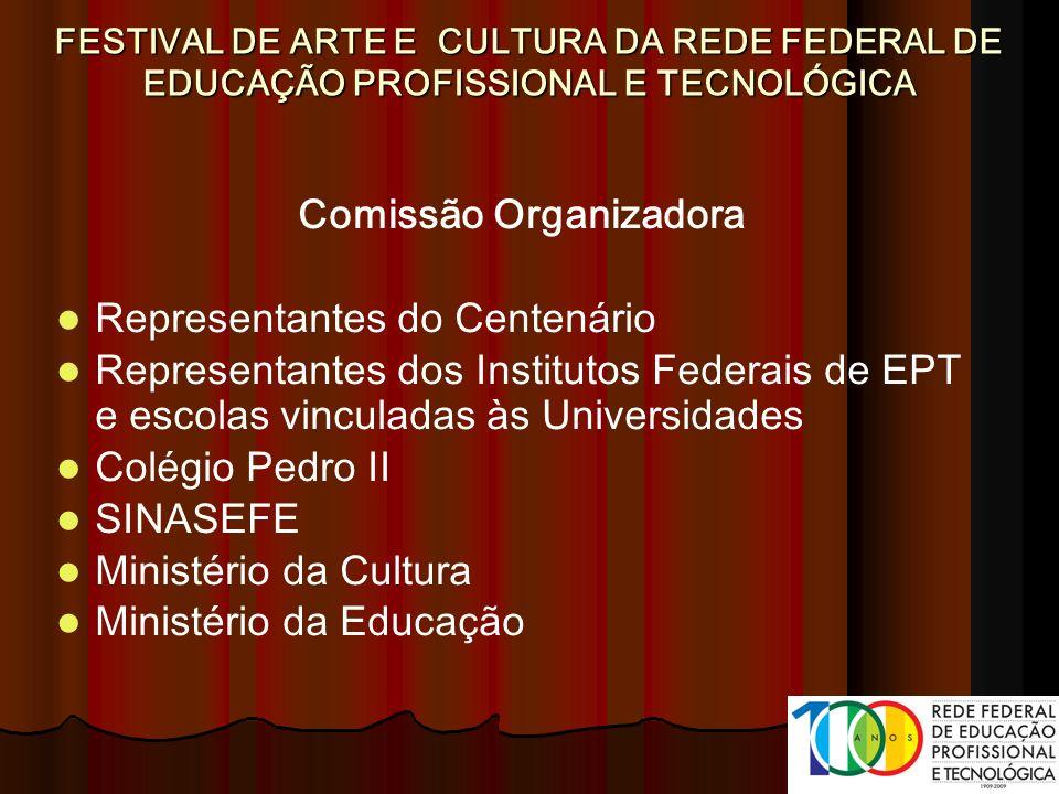 Comissão Organizadora Representantes do Centenário Representantes dos Institutos Federais de EPT e escolas vinculadas às Universidades Colégio Pedro I