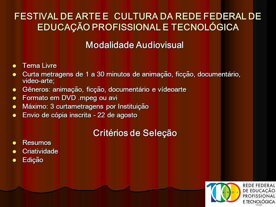 Modalidade Audiovisual Tema Livre Tema Livre Curta metragens de 1 a 30 minutos de animação, ficção, documentário, video-arte; Curta metragens de 1 a 3