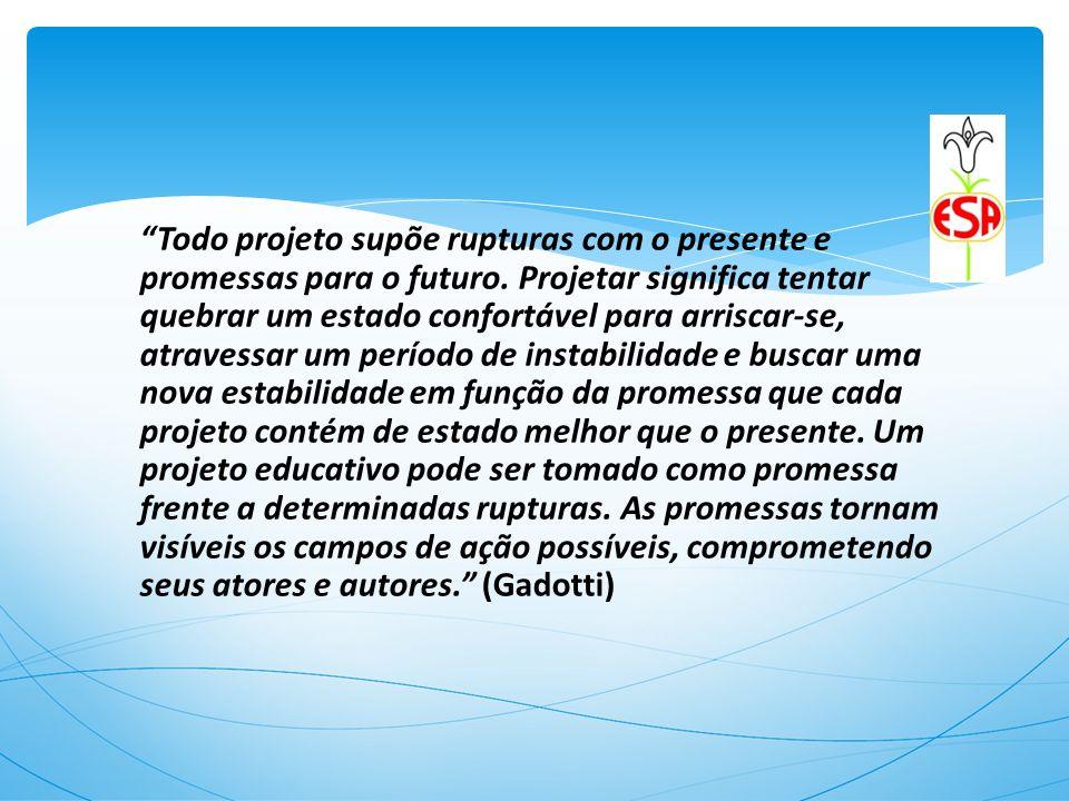 Todo projeto supõe rupturas com o presente e promessas para o futuro. Projetar significa tentar quebrar um estado confortável para arriscar-se, atrave