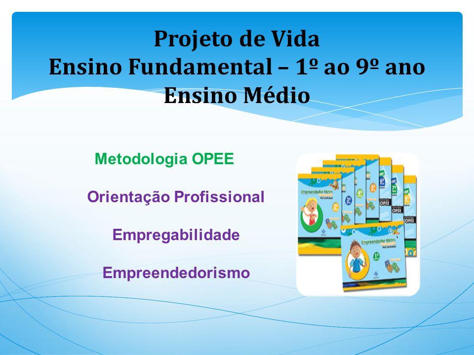 Projeto de Vida Ensino Fundamental – 1º ao 9º ano Ensino Médio Metodologia OPEE Orientação Profissional Empregabilidade Empreendedorismo
