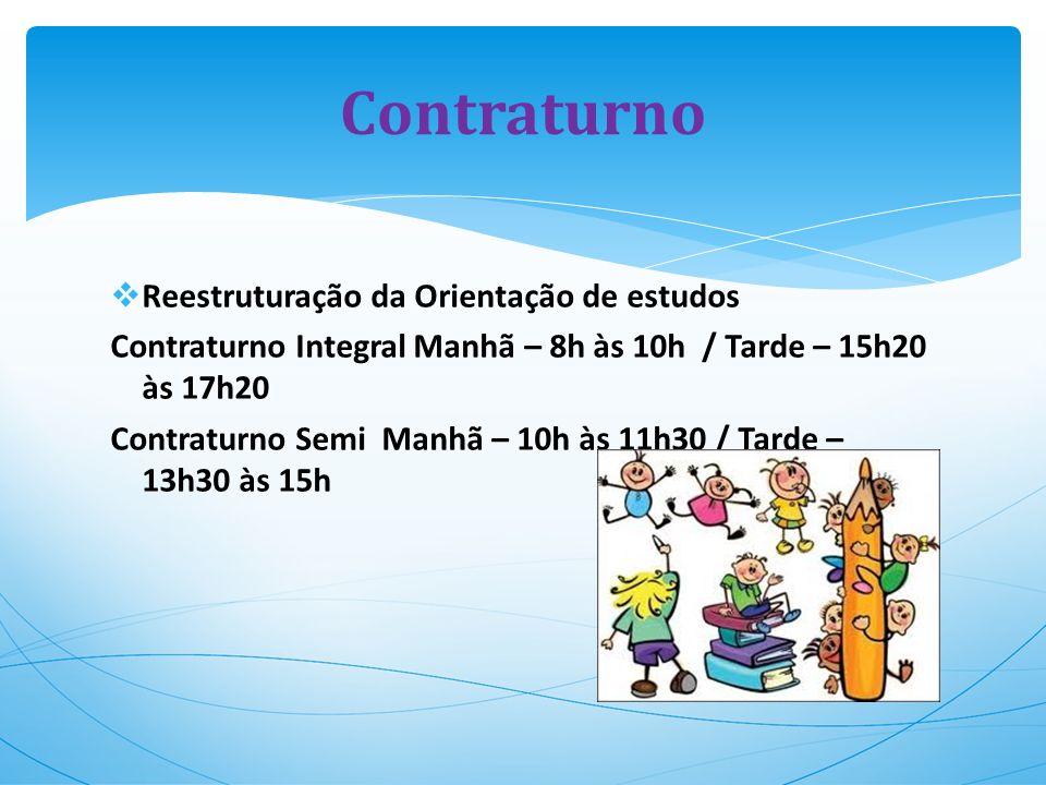 Reestruturação da Orientação de estudos Contraturno Integral Manhã – 8h às 10h / Tarde – 15h20 às 17h20 Contraturno Semi Manhã – 10h às 11h30 / Tarde