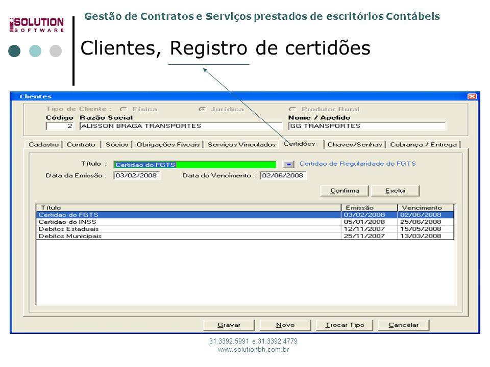 Gestão de Contratos e Serviços prestados de escritórios Contábeis 31.3392.5991 e 31.3392.4779 www.solutionbh.com.br Clientes, Registro de certidões