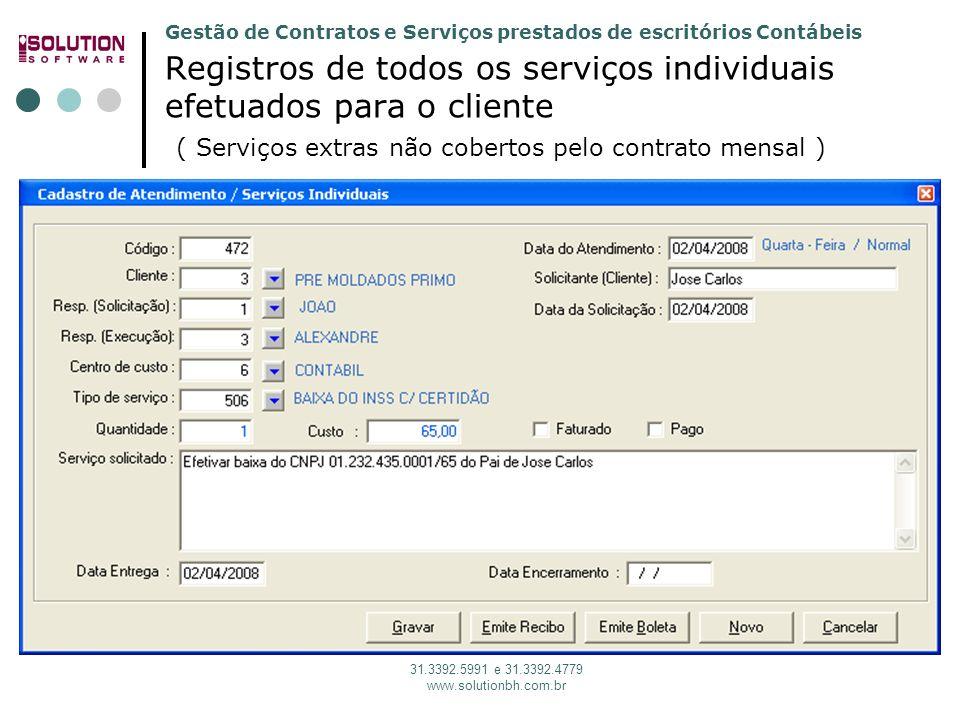 Gestão de Contratos e Serviços prestados de escritórios Contábeis 31.3392.5991 e 31.3392.4779 www.solutionbh.com.br Registros de todos os serviços ind