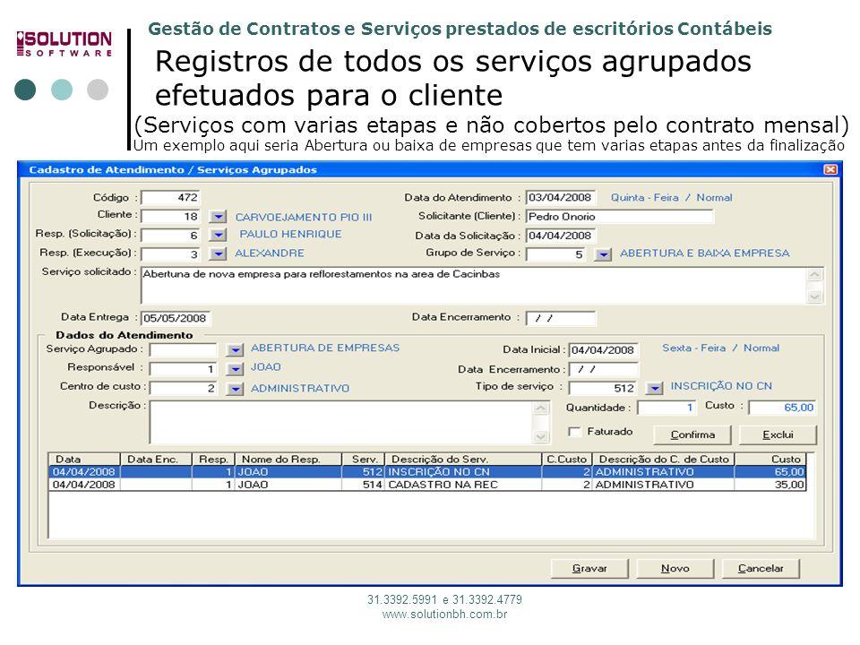 Gestão de Contratos e Serviços prestados de escritórios Contábeis 31.3392.5991 e 31.3392.4779 www.solutionbh.com.br Registros de todos os serviços agr