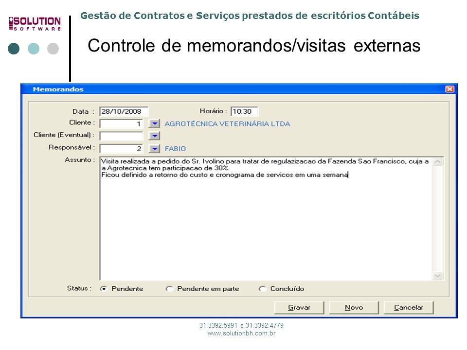 Gestão de Contratos e Serviços prestados de escritórios Contábeis 31.3392.5991 e 31.3392.4779 www.solutionbh.com.br Controle de memorandos/visitas ext